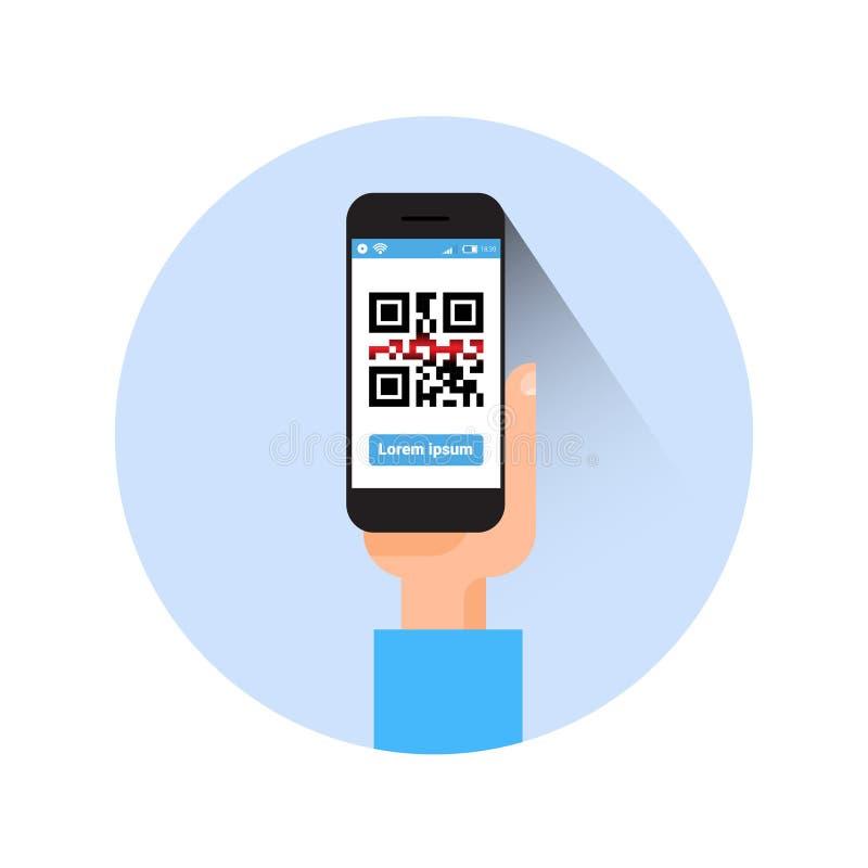 Ręka chwyta Mądrze telefon Skanuje Qr kodu ikony Barcode obraz cyfrowego Z telefonem ilustracja wektor