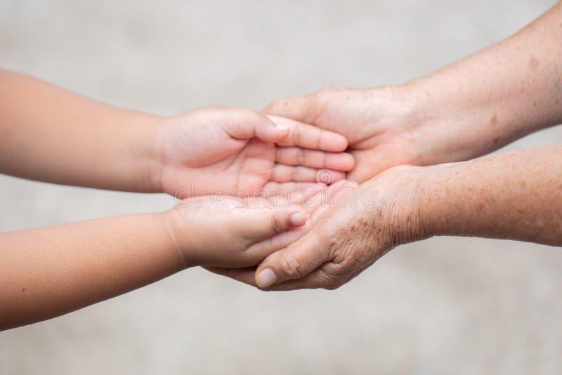 Ręka chwyta mamy pojęcia miłość dawca matki z dziećmi Na zamazanej tło naturze obrazy royalty free