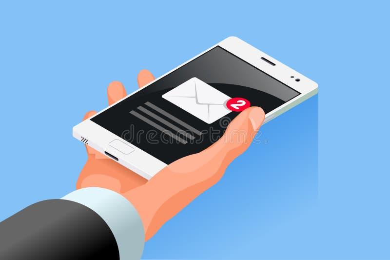 Ręka chwyta Mobilnego telefonu komórkowego ikony Isometric wektor ilustracji
