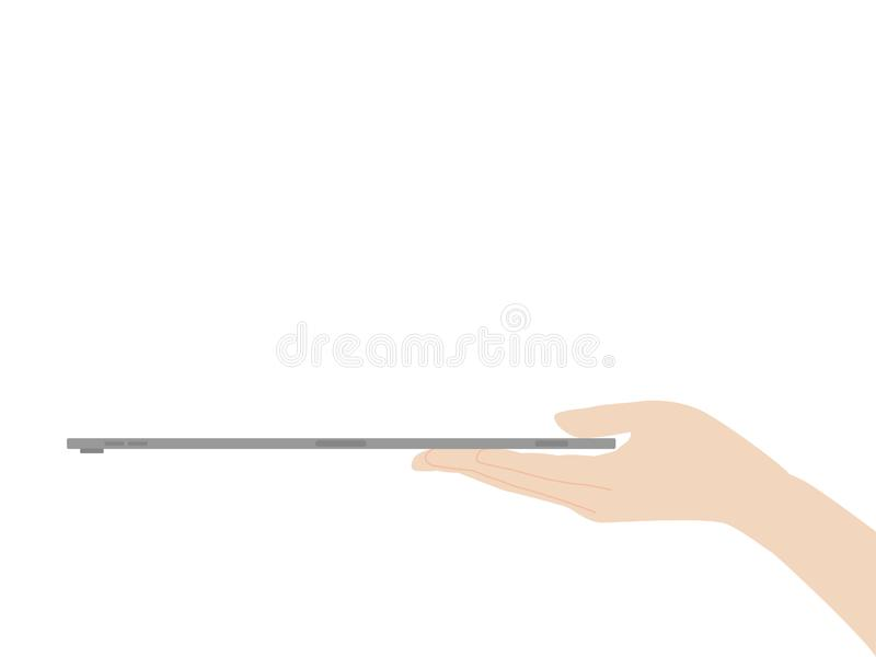 Ręka chwyta nowej potężnej pastylki projekta postępu nowa technologia ilustracja wektor