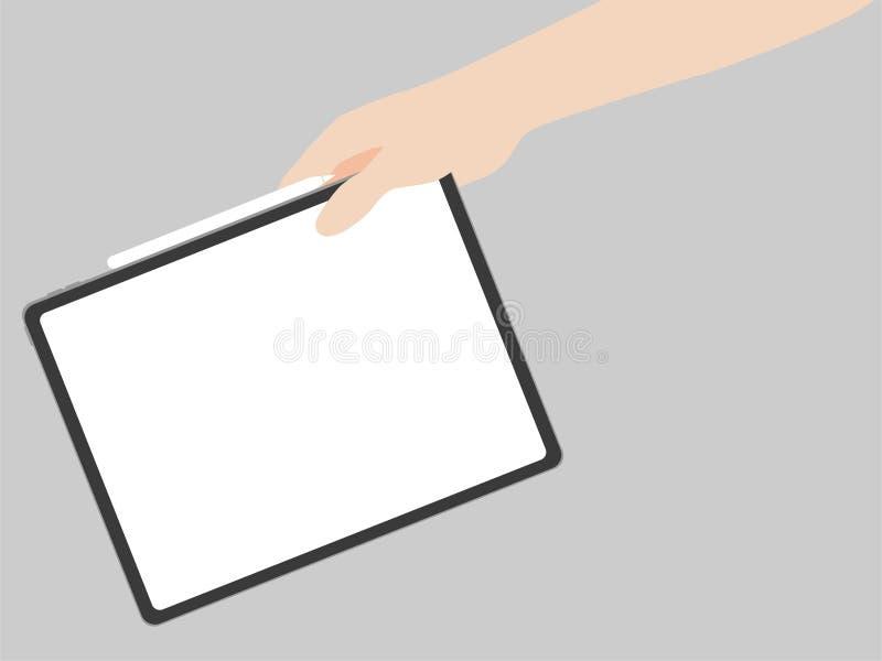 Ręka chwyta nowej potężnej pastylki projekta postępu nowa technologia royalty ilustracja