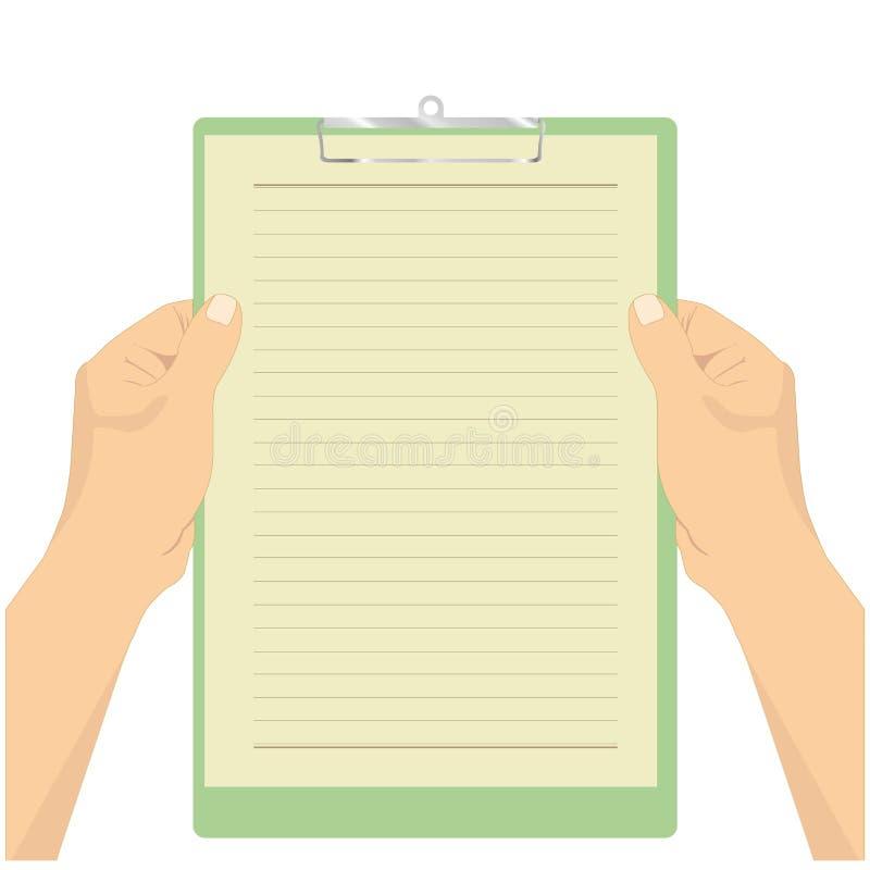 Ręka chwyta papieru schowka wektor ilustracja wektor