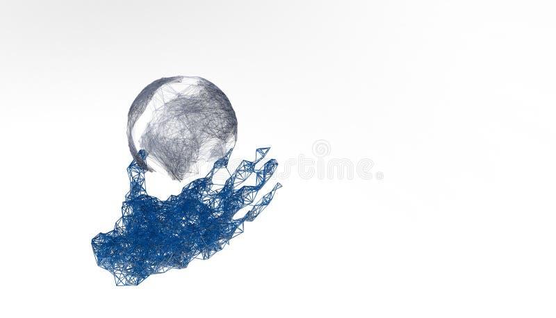 Ręka chwyta planety ziemia Niskiej poli- poligonalnej cząsteczka punktu linii geometryczny kształt Białej księgi tło, 3D plexus t ilustracja wektor