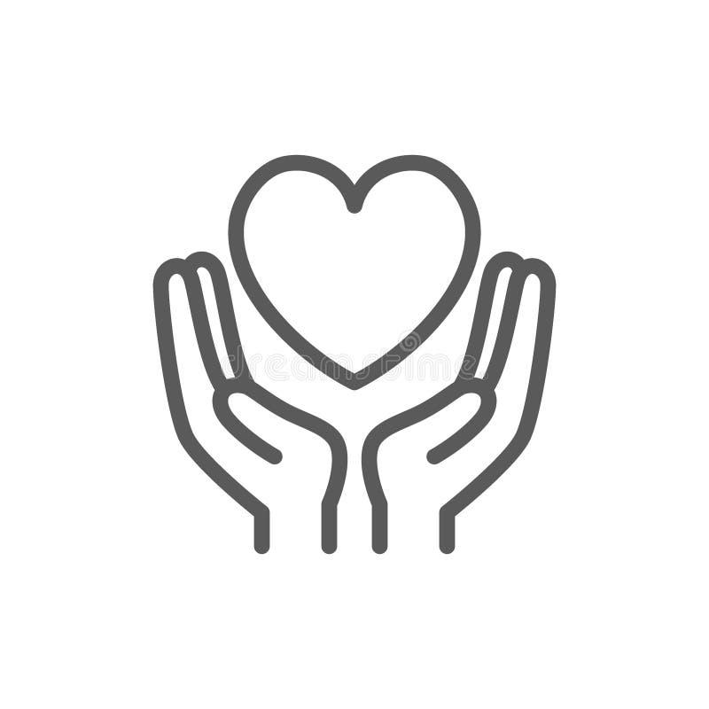 Ręka chwyta serce, dobroczynność, darowizna, walentynki kreskowa ikona ilustracji