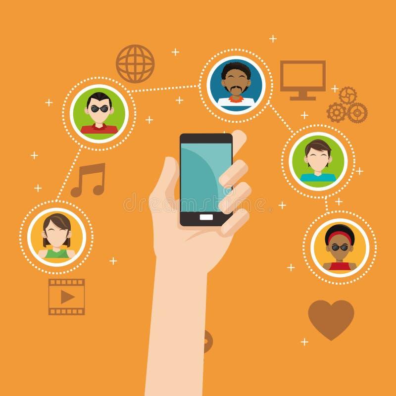Ręka chwyta smartphone ogólnospołecznych środków grupowy związek ilustracja wektor