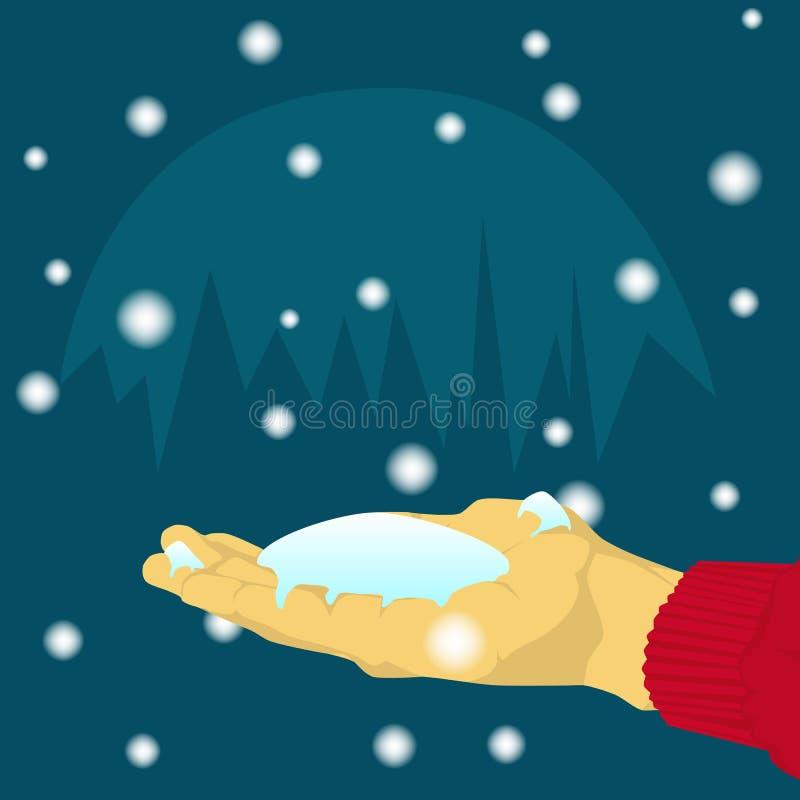 Ręka chwyta spada śnieg ilustracja wektor