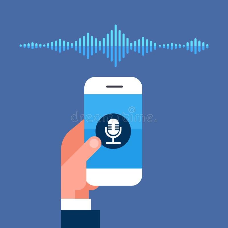 Ręka chwyta telefonu app głosu asystenta osobistego rozpoznania rozsądnych fala technologii inteligentnego pojęcia ai mądrze mówc royalty ilustracja