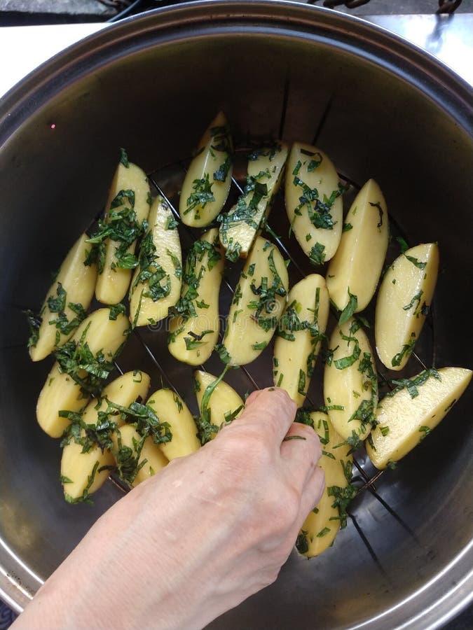 Ręka chwyta z zielarskimi kartoflanymi klinami zdjęcia royalty free