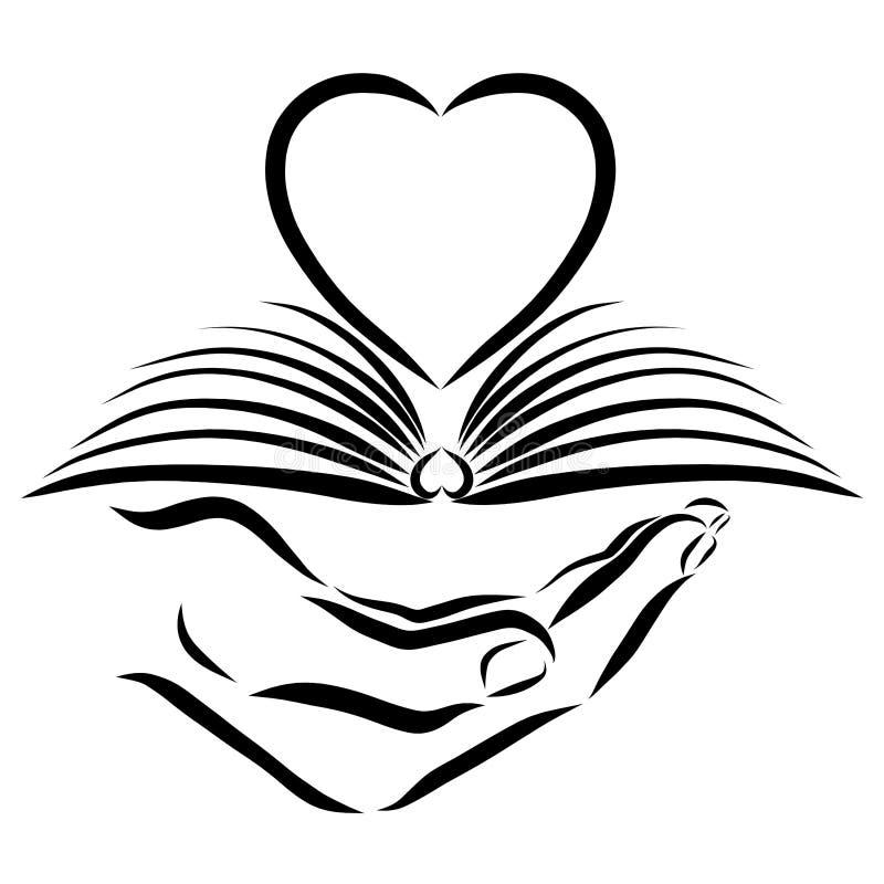 Ręka chwyty otwierają książkę i serce, czarny kontur ilustracji