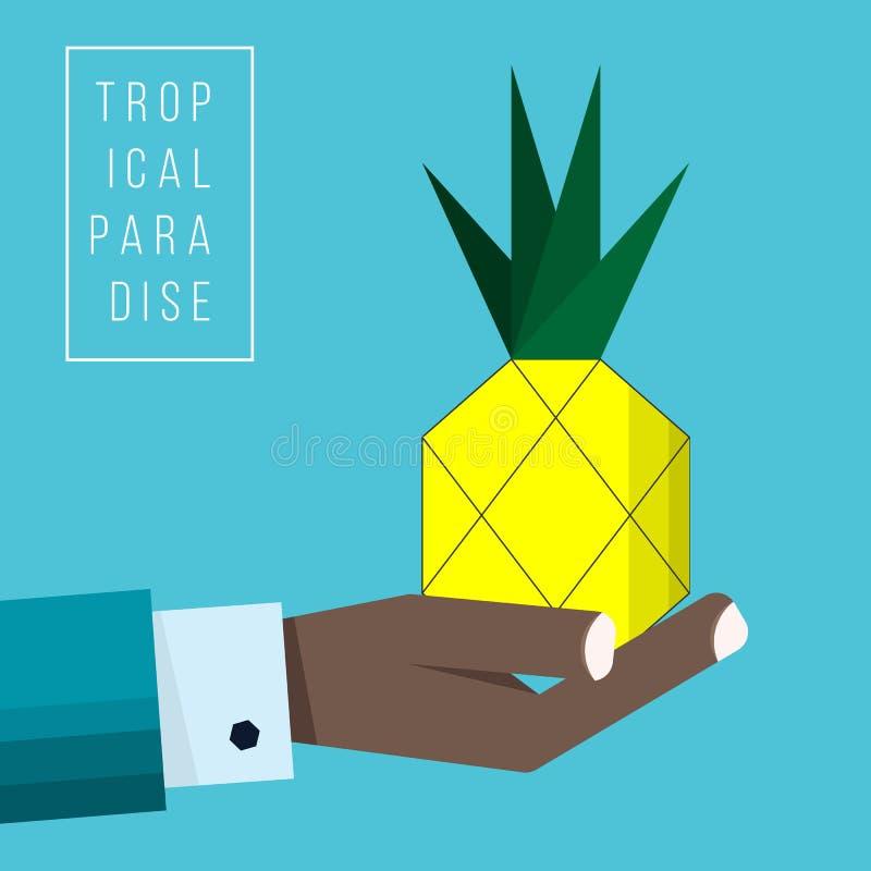 Ręka czarny biznesmen trzyma ananasową ikonę ilustracji
