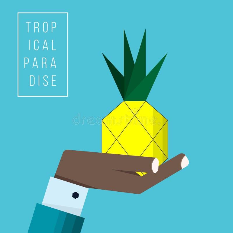 Ręka czarny biznesmen trzyma ananasową ikonę ilustracja wektor
