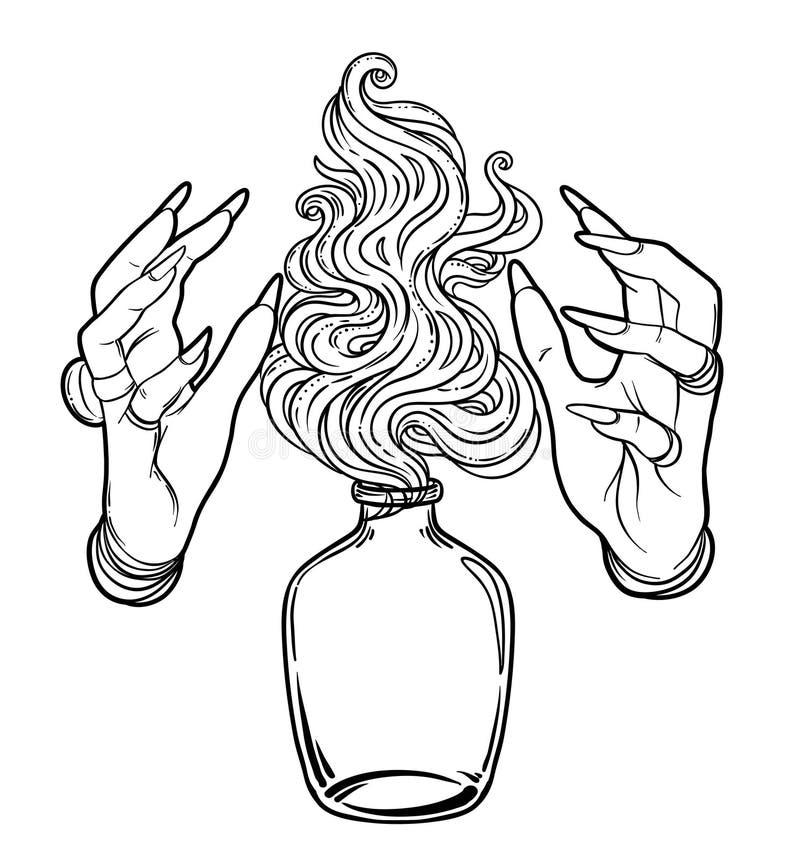 Ręka czarownica z ogieniem Tajemniczy charakter Alchemia, religia, sp royalty ilustracja