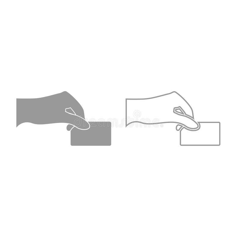 Ręka daje elektronicznej karty ikonie Siwieje set ilustracja wektor