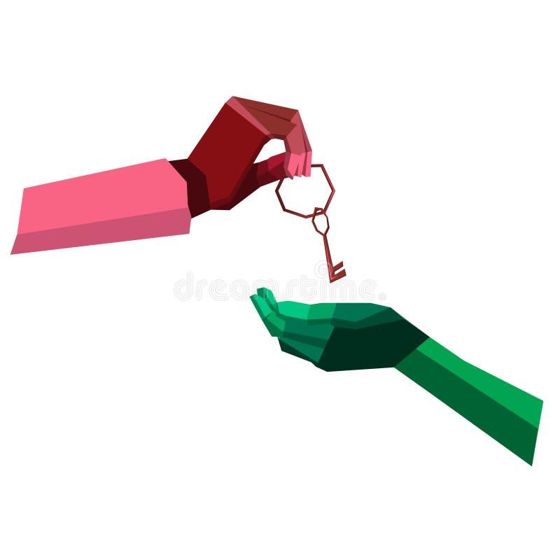 Ręka daje kluczowi ilustracja wektor