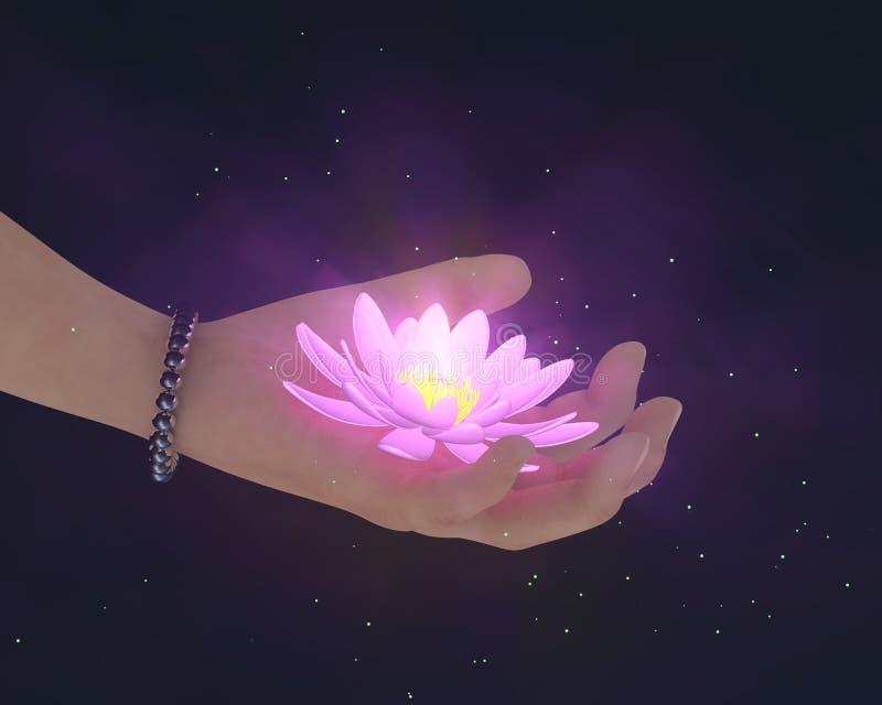 Ręka daje lotos łunie w zmroku zdjęcie stock