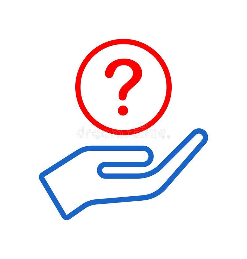 Ręka daje pytanie ikony logo royalty ilustracja