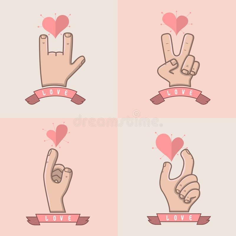 Ręka dla miłości ilustracja wektor