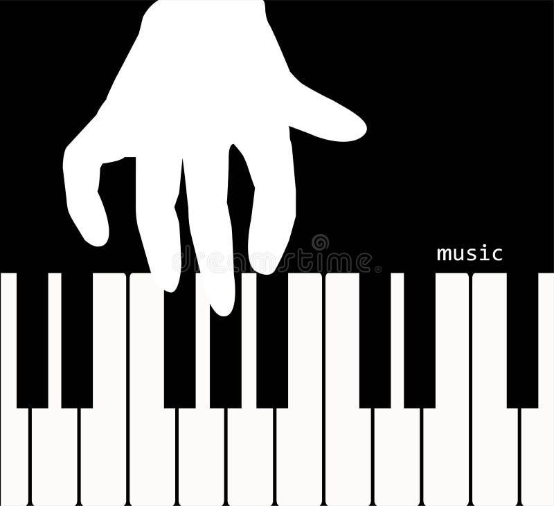 Ręka dotyka pianino ilustracji