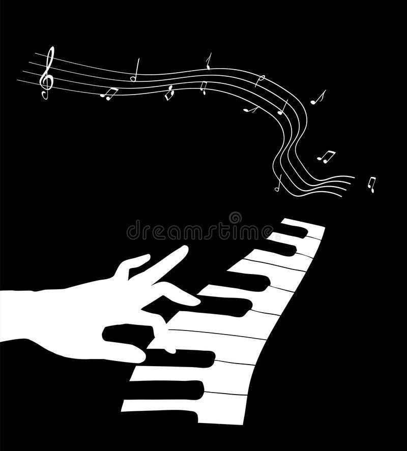 Ręka dotyka pianino ilustracja wektor