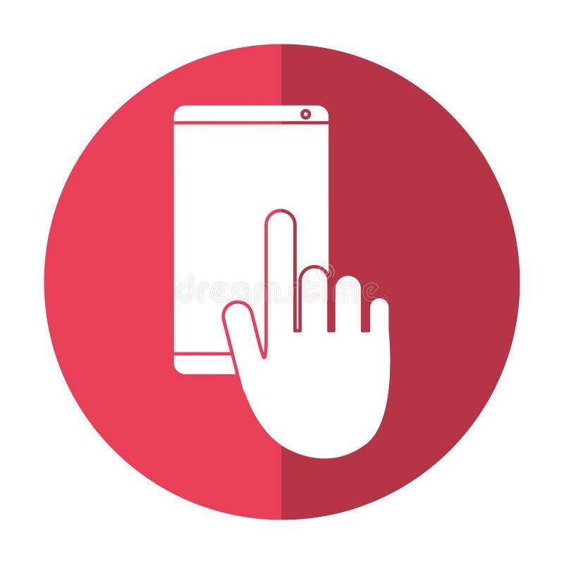 Ręka dotyka telefonu komórkowego gadki rozmowy cień royalty ilustracja