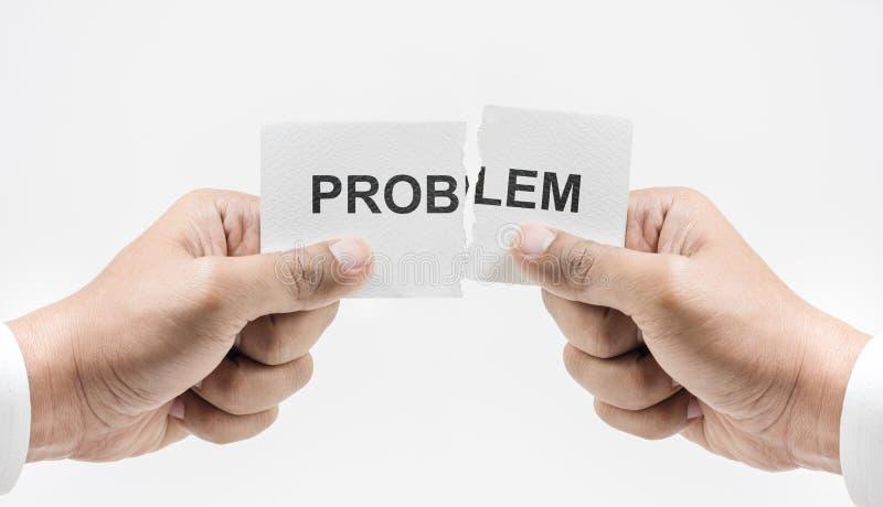 Ręka drzeje papier z Problemowym słowem Biznesowego sukcesu pojęcia zdjęcia stock