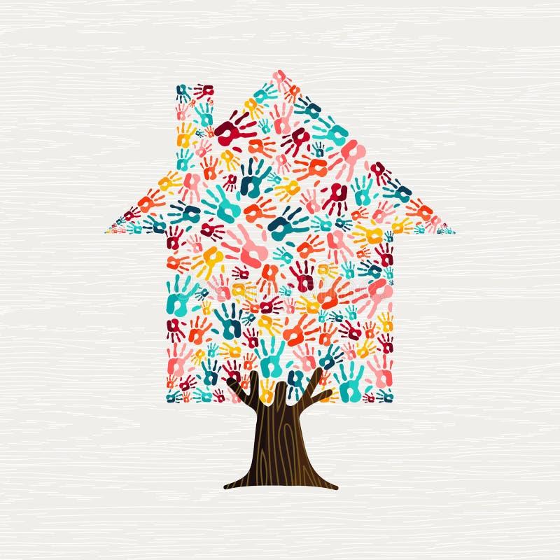 Ręka drzewnego domu pojęcie dla społeczność domu ilustracji