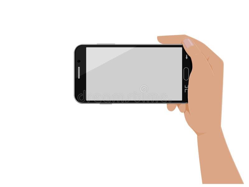 Ręka działa horyzontalnego mądrze telefon royalty ilustracja