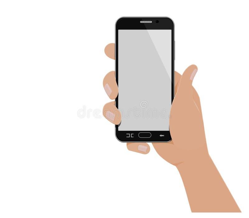 Ręka działa pionowo mądrze telefon ilustracji