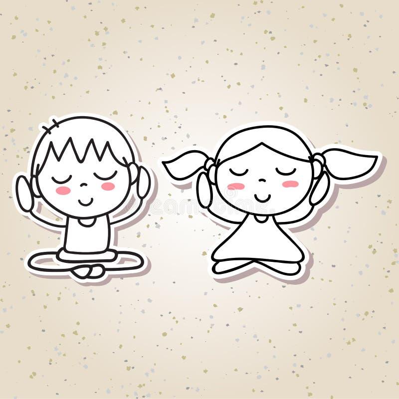 Ręka dzieciaków szczęścia medytaci szczęśliwego przeciwu rysunkowi abstrakcjonistyczni ludzie ilustracja wektor