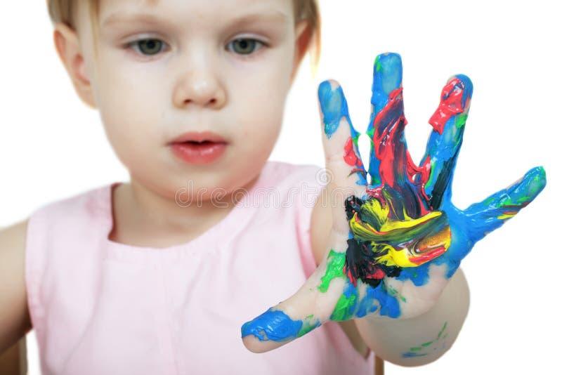 ręka dziecka barwiąca s fotografia stock