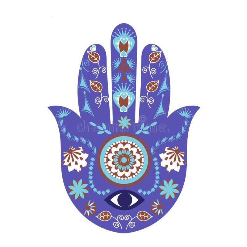 Ręka Fatima znak Hamsa ręki simbol, amulet, talizman w projekcie royalty ilustracja