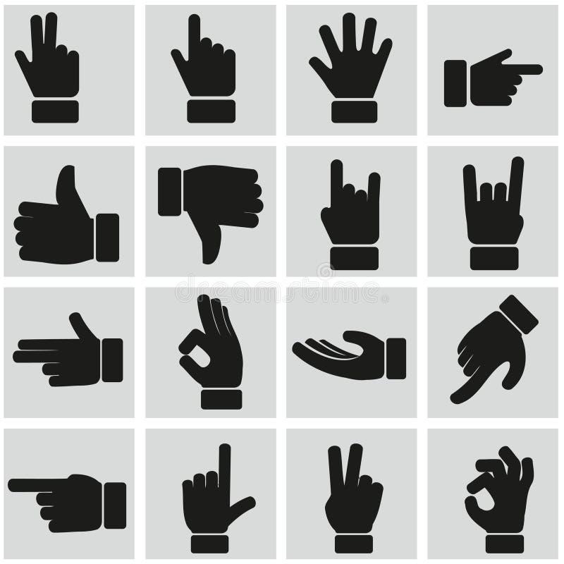 Ręka gestów ikony ustawiać ilustracja wektor