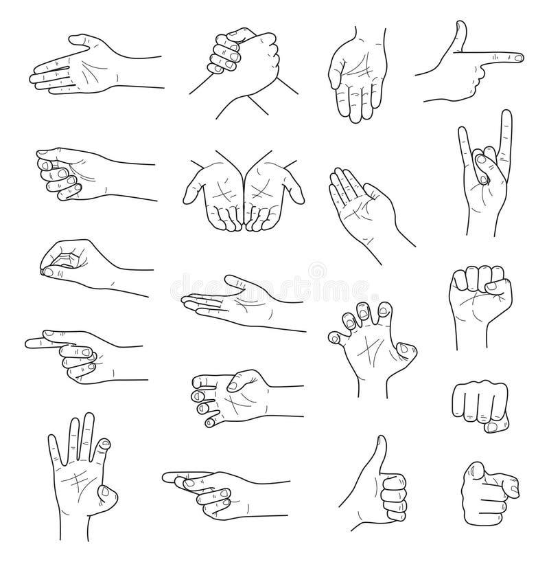 Ręka gestów konturu nakreślenia ector set fotografia stock