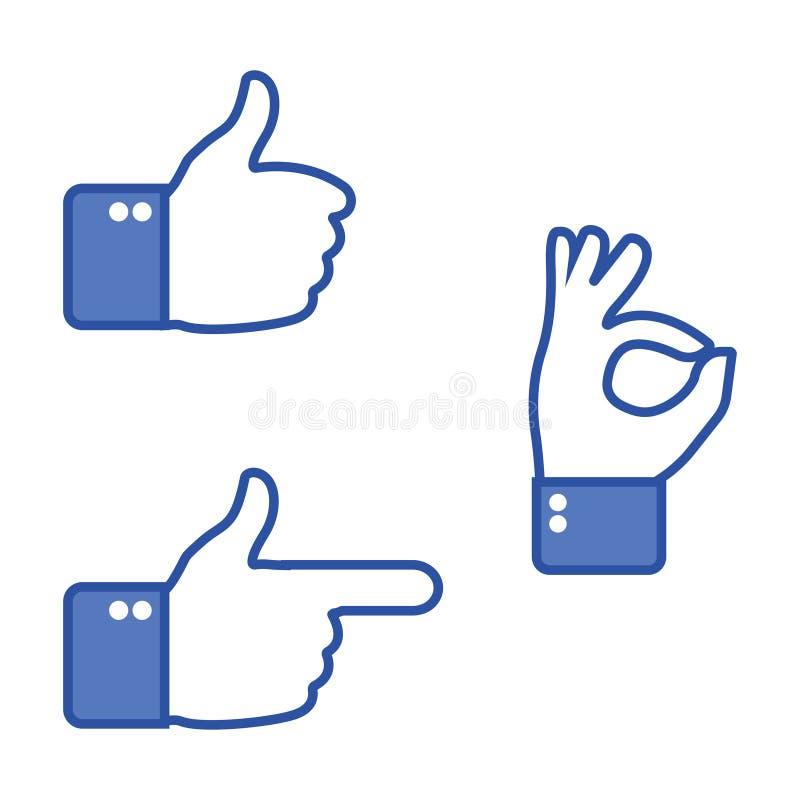 ręka gestu odizolowane white kciuki w górę Jak i niechęci ikony dla ogólnospołecznej sieci - ręce znaku odizolowana biała kobieta ilustracja wektor