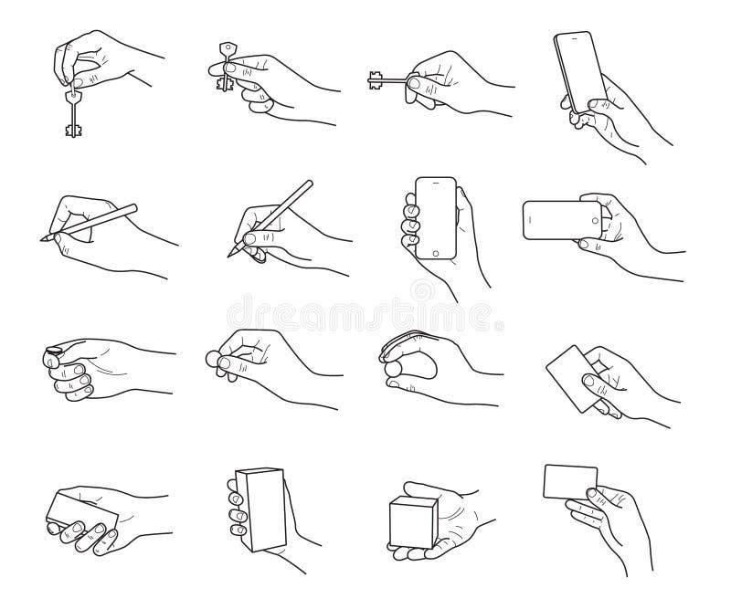 Ręka gesty z przedmiota nakreślenia wektoru setem zdjęcie stock