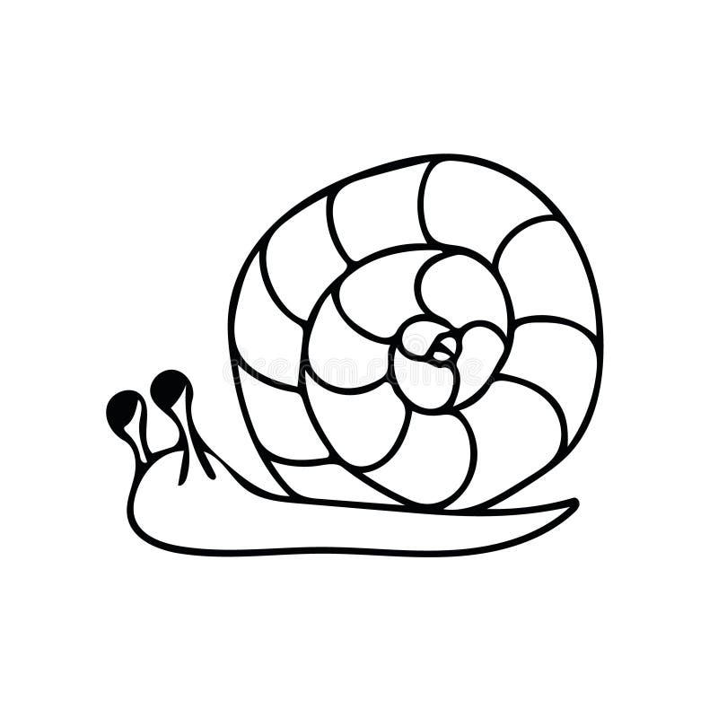 Ręka gwoździa narysowana w stylu doodle monochromatyczny monochromatyczny element wektora prostego małż, wiosna, lato ilustracja wektor