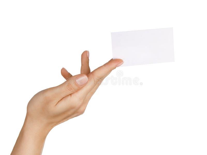 Ręka holding/dawać wizytówce fotografia stock