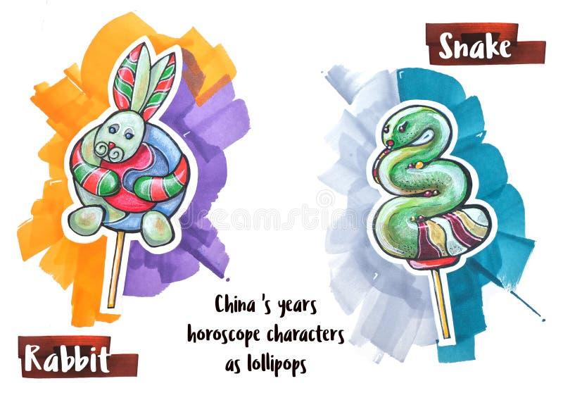 Ręka horoskopu rysunkowy zwierzę jako lizaki royalty ilustracja