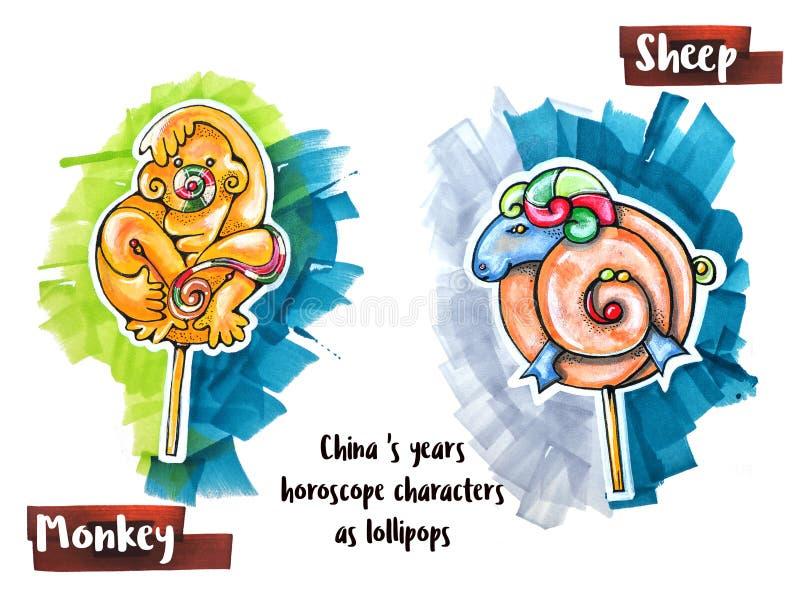 Ręka horoskopu rysunkowy zwierzę jako lizaki ilustracja wektor