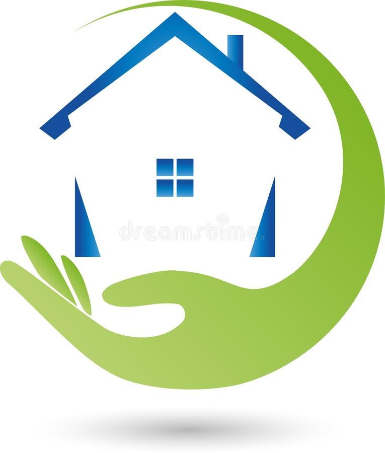 Ręka i dom, agenta nieruchomości logo