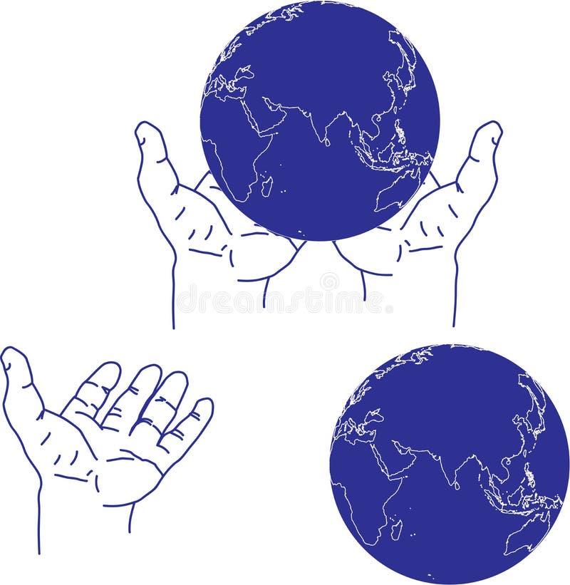 Ręka i kula ziemska ilustracja wektor