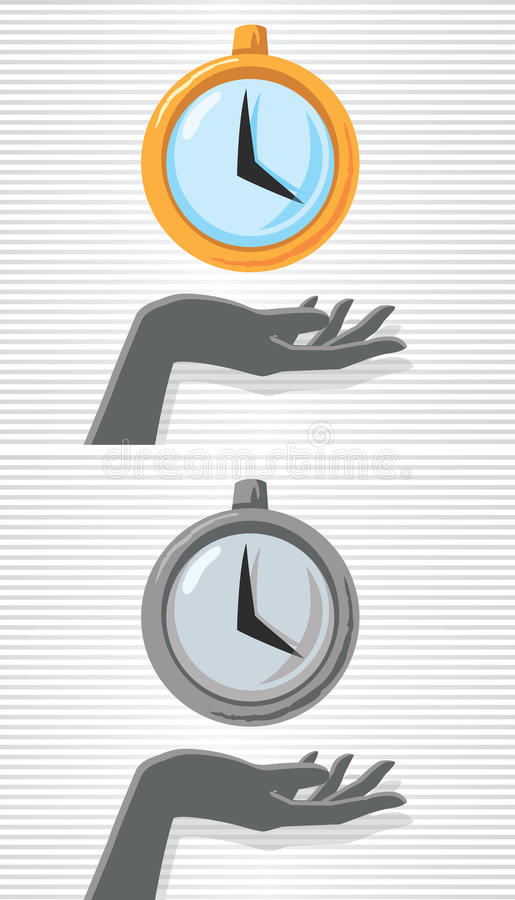 Ręka i zegarek ilustracja wektor