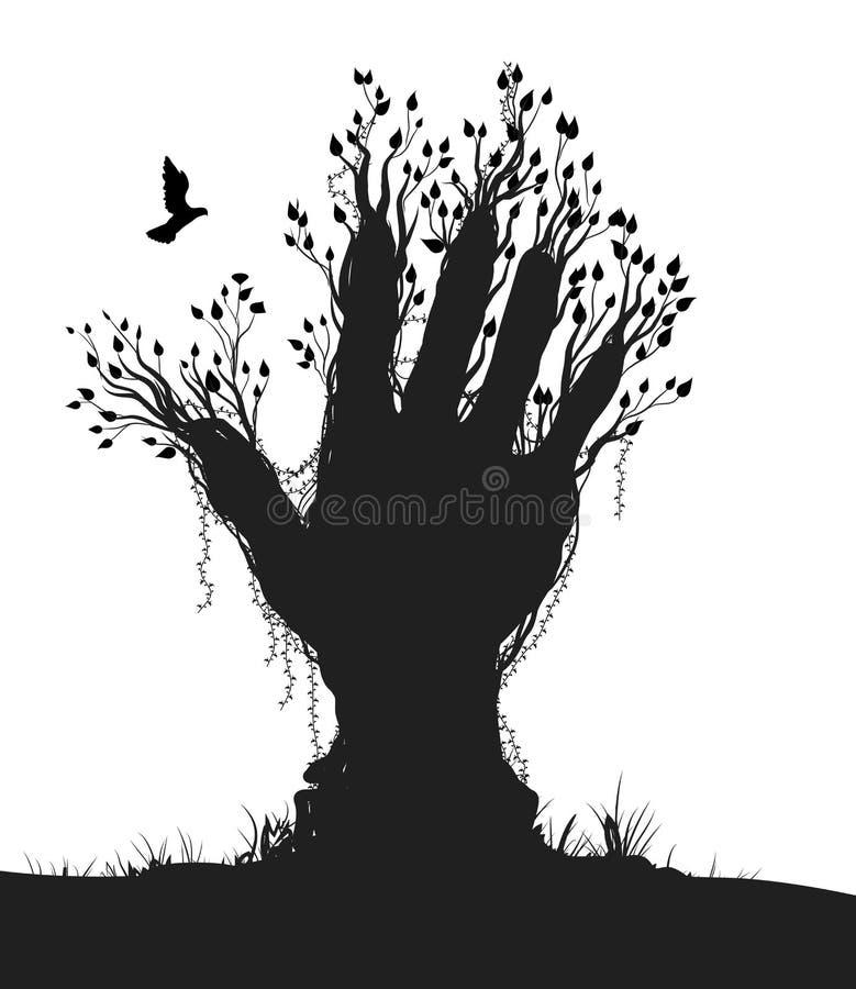 Ręka jak drzewo i gołębia komarnica ono, royalty ilustracja