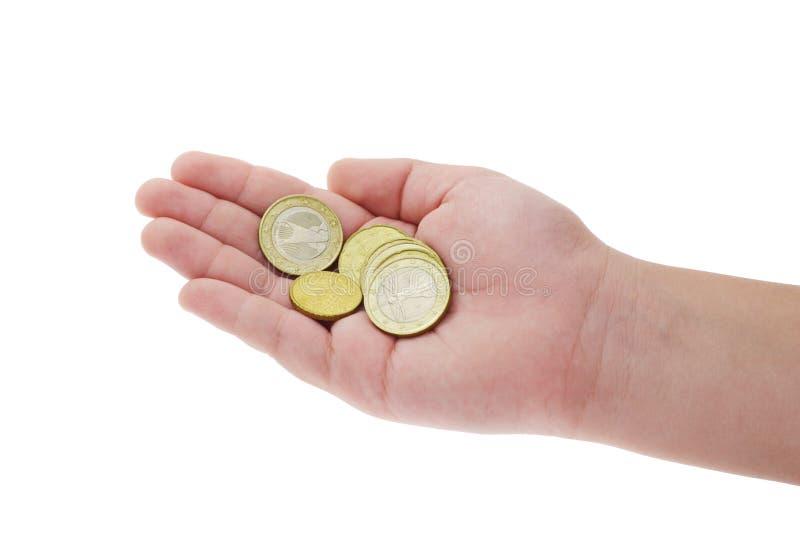 ręka jest dziecko monet obrazy royalty free