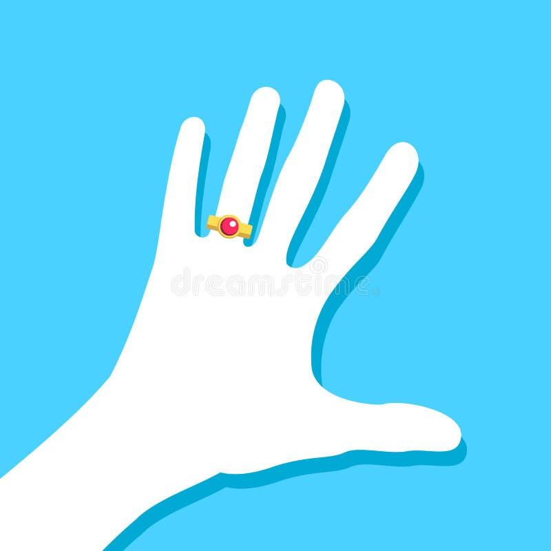 Ręka jest ubranym zobowiązanie, obrączkę ślubną z czerwonym cennym kamieniem/ ilustracja wektor