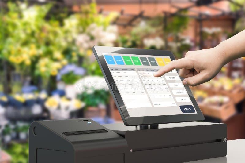 Ręka kasjera pracująca maszyna ilustracja wektor