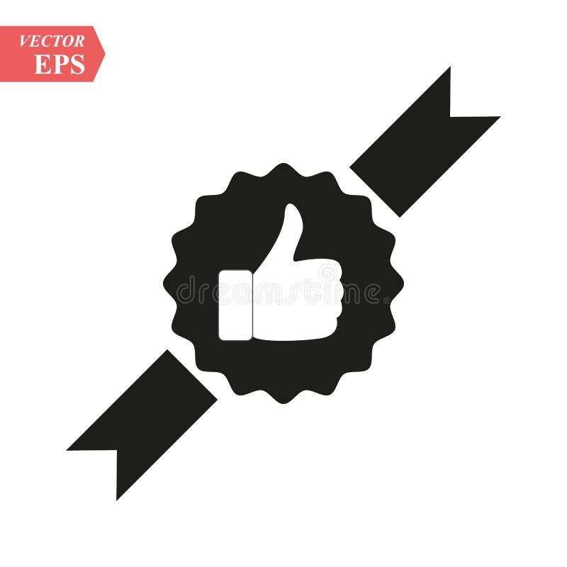 Ręka kciuk W górę ikony mieszkania tła cogwheel ilustraci odosobniony biel Wektoru popielaty szyldowy symbol royalty ilustracja