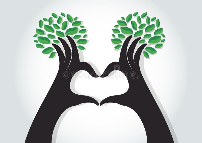 Ręka kierowy kształt z liśćmi, natura kochankowie, Światowego środowiska dzień ilustracja wektor