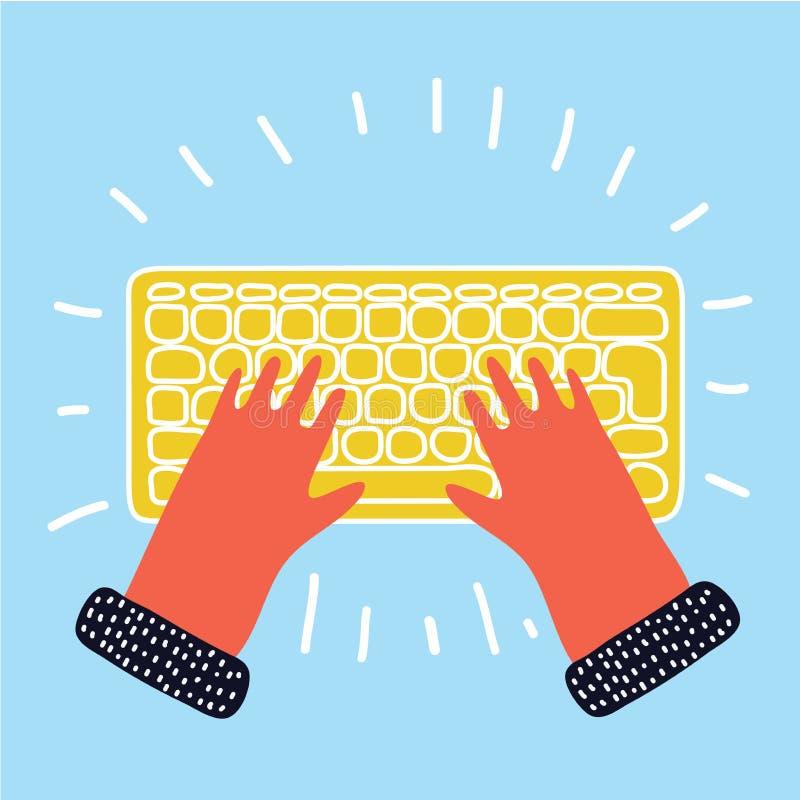 Ręka klawiaturowy pisać na maszynie wektor ilustracji