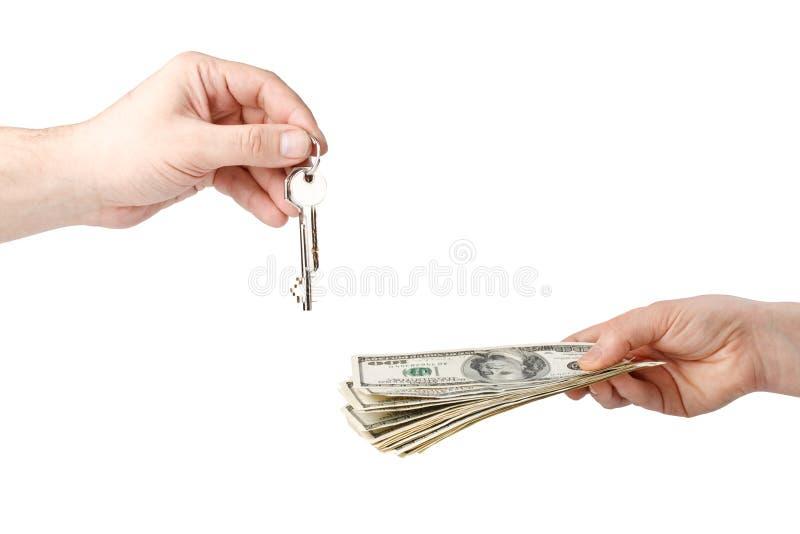 ręka kluczowy pieniądze zdjęcie stock